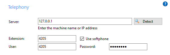 Valid softphone details