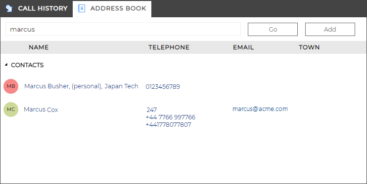 Address Book window