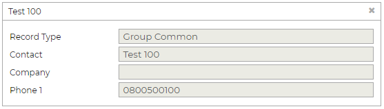 Group Common Record window