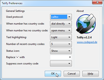 Telephone Number Detection preferences