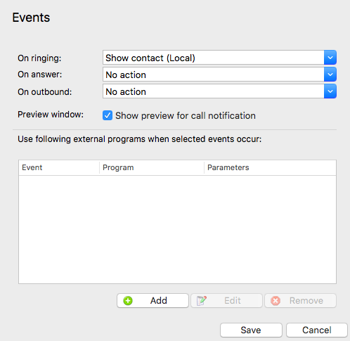 Call Events options