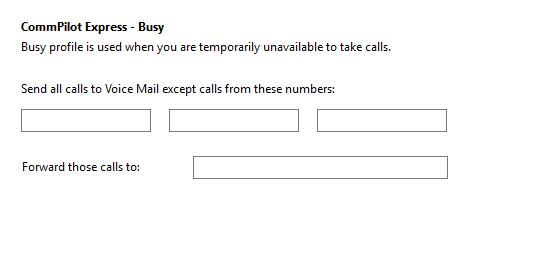 Call settings Busy tab