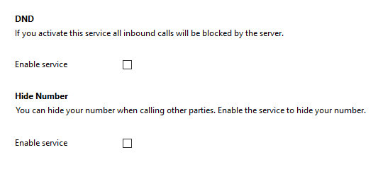 Call settings DND/Hide number tab