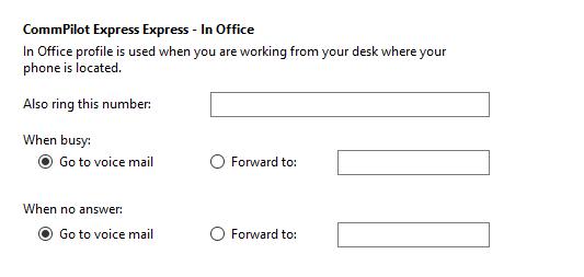 Call settings In Office tab