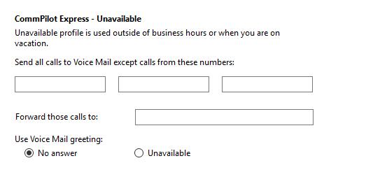 Call settings Unavailable tab