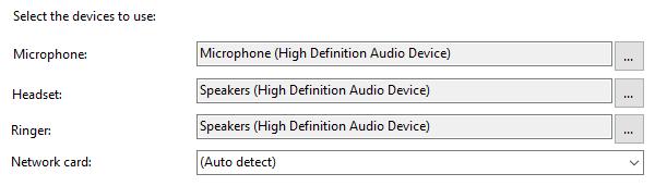 Audio devices options