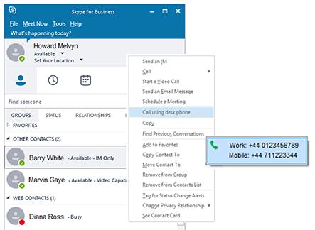 Skype for Business using desk phone option