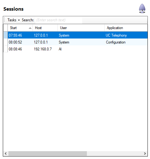 Sessions page