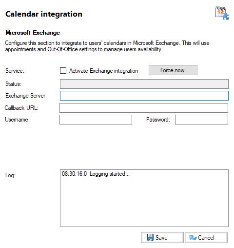 Calendar Integration window