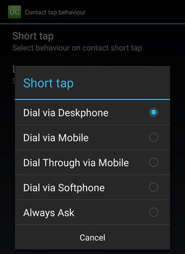 Contact Tap Behaviour
