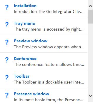 Tray menu Help content